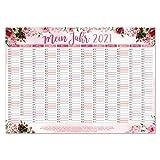 Calendario de pared 2021 rosa, DIN A3, formato horizontal, bonito planificador anual con días festivos para oficina, cocina, para niñas, mujeres, familia