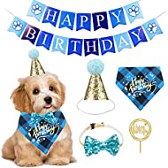ADOGGYGO Dog Birthday Bandana Girl Boy - Birthday Party Supplies - Puppy Birthday Hat Scarf Happy Birthday Banner Dog Boy Girl First Birthday Outfit for Pet Puppy Cat