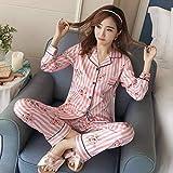 XFLOWR Autumn Women Ladies Satin Silk Pyjamas Sets Long Sleeve Tops + Pants Ropa de Dormir Mujer Cartoon Nightwear Pijama Female XL Strip Pink