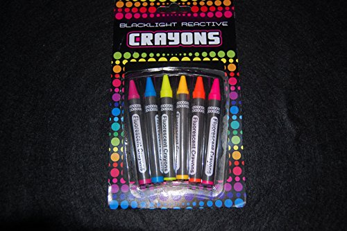 Neon Blacklight Reactive Crayons 6-pack