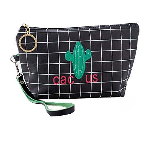 Sac cosmétique noir de sac de voyage de sac de cosmétique de cactus