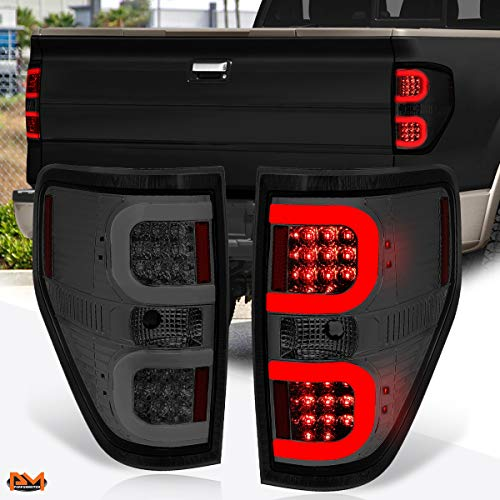 Compatible with Ford F-150 Pickup 09-14 Dual LED C-Bar Tail Light Brake/Reverse Lamp Smoked