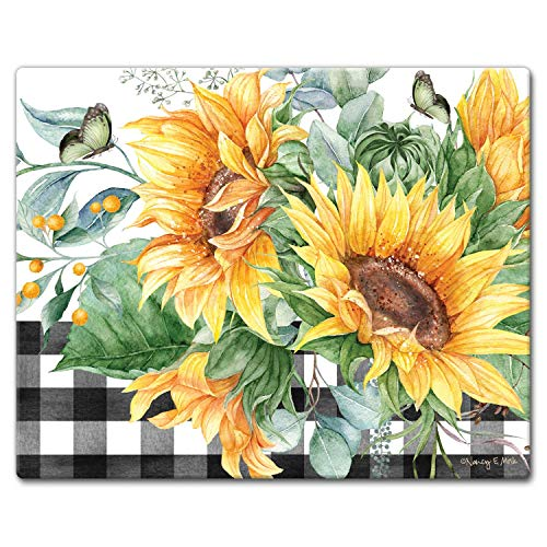 "CounterArt Sunflower Fields Tempered Glass Counter Saver - 15"" x 12"""