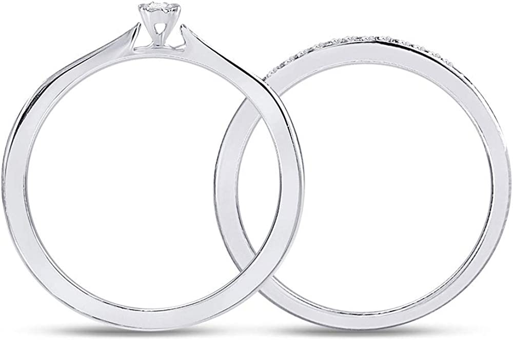 10kt White Gold Round Diamond Bridal Wedding Ring Band Set 1/8 Cttw