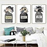 ZYQYQ Arte de estilo beige Perfume lienzo pintura diseñador carteles imagen de arte de pared para sala de estar decoración del hogar 40x60cmx3 sin marco
