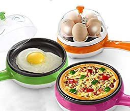 RYLAN Multifunctional 2 in 1 Electric Egg Boiling Steamer Egg Frying Pan Egg Boiler Electric Automatic off with Egg Boiler Machine Non-Stick Electric Egg Frying Pan (Multi)