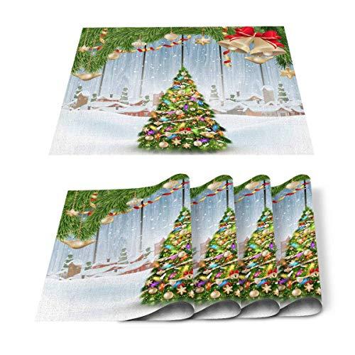 JONINOT Manteles Individuales para Mesa de Comedor Árbol de Navidad con Campana y casita de Nieve, Manteles Individuales para decoración de mesas, Textura de Madera