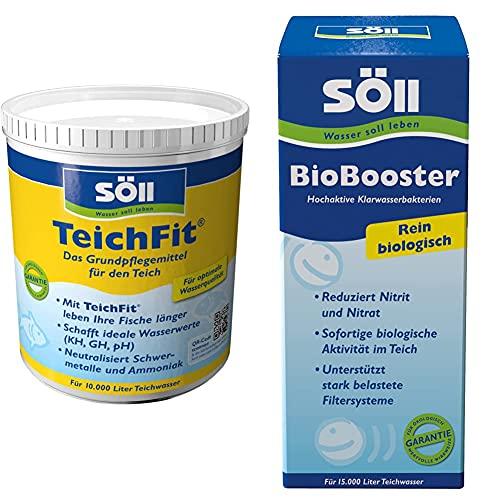 Söll 15212 TeichFit Grundpflegemittel für den Teich 1 kg - ganzjährig anwendbarer Wasseraufbereiter Stabilisator & BioBooster Teichbakterien für klares Wasser rein biologisch 500 ml