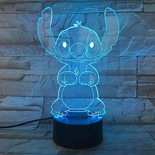 Cartoon Stitch 3D Lamp Bedroom Table Night Light Acrylic Panel USB Cable 7 Colors Change Touch Base Lamp Kids Gift
