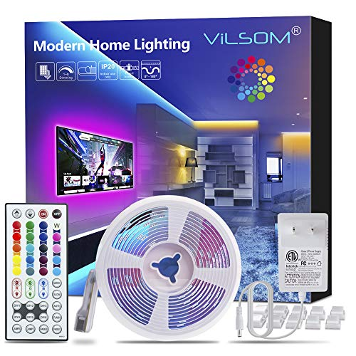 ViLSOM Led Strip Lights 16.4 Feet with 44Keys Remote and 12V Power Supply, Led Lights for Bedroom, TV, Room, Ceiling, Party, Home Decoration