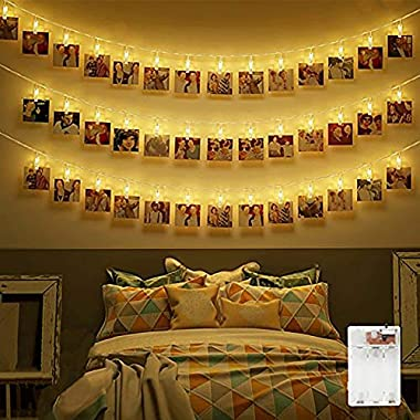 Dadiii 30 LED Photo Clip String Lights Christmas Lights for Hanging Photos, Pictures, Cards, Ideal Gift for Wedding, Party, Christmas Decoration,Battery Powered ( Warm Light )