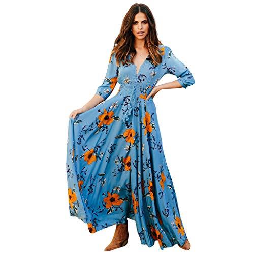 Startview Women's Fashion Bohemian Gypsy Boho Print V-Neck Three Quarter Sleeve Maxi Dress