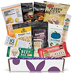 LOW CARB KETO SNACKS VARIETY PACK: All the snacks in the keto box have no grains, no added sugar, 2 grams of natural sugar or less. always low carb! 5g of net carbs or less & malitol free. PERFECT KETO SNACKS CARE PACKAGE: Great keto gifts for anyone...