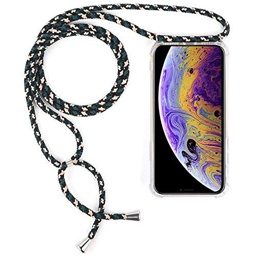 ShinyZone Cordon Coque Compatible avec Samsung Galaxy S7 Edge-Housse en Rigide Transparent avec Réglable Collier Tour de Cou,Coque de Téléphone Portable avec Smartphone Sangle,Camouflage