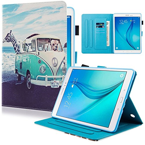 Dteck Samsung Galaxy Tab A 9.7 Case, [Built in Kickstand] [Auto Wake/Sleep] Smart PU Leather Super Safe Full Body Protective Cover with S Pen Holder for Galaxy Tab A 9.7 Tablet, Animal Bus