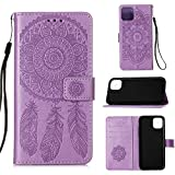 YANCAI - Funda para iPhone 12 mini Dream Catcher Printing horizontal con tarjetero, cartera y cordón (color: morado)