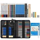 WOMGF Crayon de Couleur Professionnel Kit Crayons Croquis de Couleur Crayons de Dessin 53pcs Crayons Croquis Kit de Croquis Dessin avec Sac Inclus Gomme Crayon de Charbon Graphite Outils