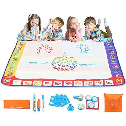 Fansteck Wasser Doodle Matte 100 x 100cm XXL, Aqua Magic Doodle Zeichnen Malmatte mit 3 Magic Stifte und Stempelset, Wiederverwendbare Aqua Zeichnung Drawing Painting Matte für Kinder Baby Toddler