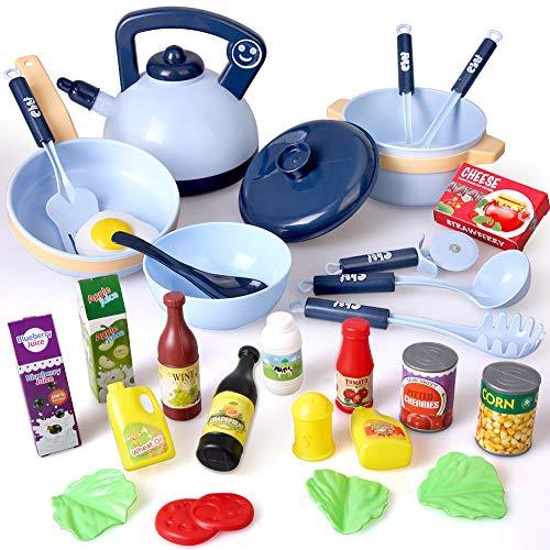 BeebeeRun Juguete de Cocina, 30 Piezas Juego de Ollas y Cacerolas Accesorios de Cocina Infantil, Juguete de Comida Imitando Juguetes,...