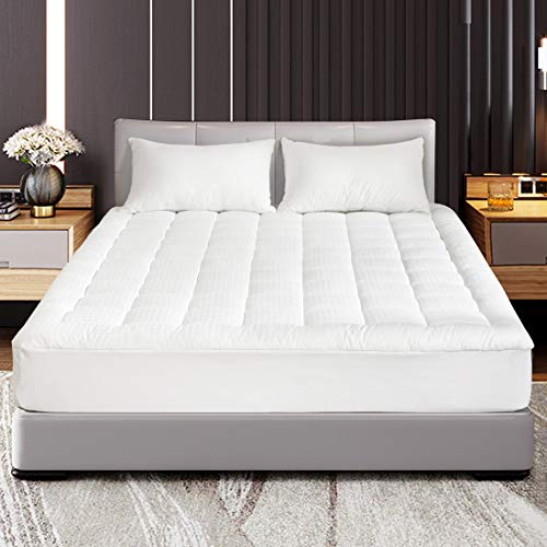Best Buy! Abakan King Mattress Pad Cover Pillow Top Down Alternative Fill Cotton Top Cooling Breatha...