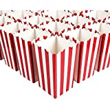 Set of 100 Mini Popcorn Favor Boxes - 3x5 Snack Containers for Carnival Party Supplies, Movie Night, Birthdays, Red and White, 20 Ounce, 3.3 x 5.6 Inches
