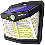 Claoner 128 LED Luz Solar Exterior, 3 Modos Foco Solar con Sensor de Movimiento 270º lluminación Lámpara Solar de Seguridad Impermeable IP65 para Entrada Garaje Patio y Jardín