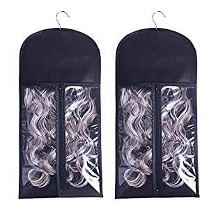 2PCS Hair Extension Holder with Wooden Hanger, Portable Wig Bags Storage, Dust-proof Hair Extension Hanger for Hairpiece Human Hair
