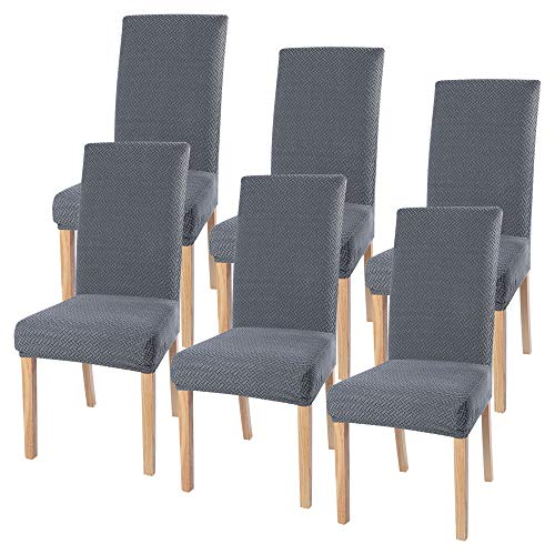 SearchI Stuhlhussen 4er 6er Elastische Set Stuhlbezug Universal Stretchhusse Moderne Husse Dekoration Stuhlüberzug für Stuhl Esszimmer (Silber-Grau, 6er Set)