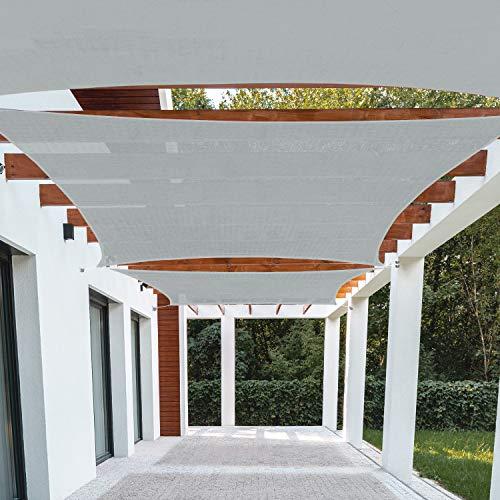 Patio Paradise 16' x 20' Light Grey Sun Shade Sail Rectangle Square Canopy - Permeable UV Block Fabric Durable Outdoor - Customized Available