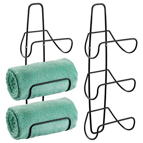 mDesign Metal Wall Mount 3 Level Bathroom Towel Rack Holder & Organizer - for Storage of Washcloths, Hand Towels - Use in Guest, Master, Kid's Bathrooms - 2 Pack - Black