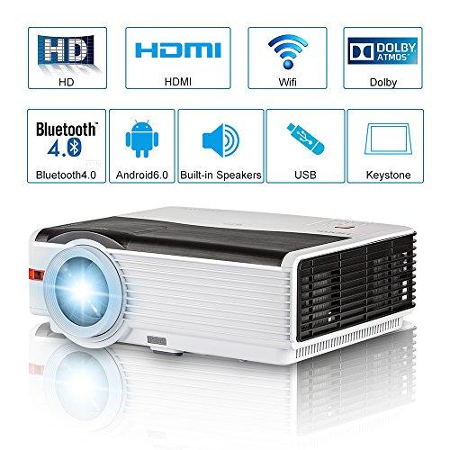 Proiettore Android Proiettore Home Cinema da 5000 Lumen LED Multimedia senza fili Bluetooth Proiettore da esterno per videogiochi HDMI/USB/VGA/AV/Audio