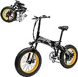 ZJZ Upgrade Bicicleta de ciclomotor eléctrica - 48V 1000W Bicicleta de montaña/Ciudad/Carretera Plegable eléctrica de Aluminio de Alta Potencia - 35 km/h con neumáticos de Grasa de 20 x 4 Pulgadas,