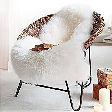 Faux Sheepskin Area Rugs, Faux Fur Rug White Shag Fuzzy Fluffy Sheepskin Kids Carpet with Super Fluffy Thick,Used As An Area Rug in Bedroom,Living Room Your Armchair Or Couch(White 2ft x 3ft )