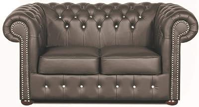Casa Padrino Genuine Leather 3 Seater Sofa Dark Red 180 x 90