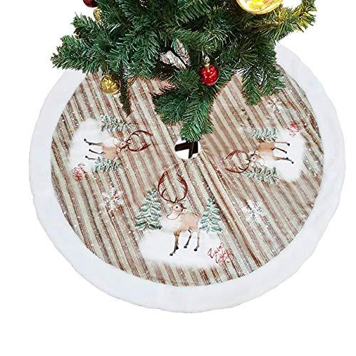 ShiyiUP Falda de Árbol de Navidad Blanco Decoración Felpa para Papá Noel (Clásico, Deer 38')