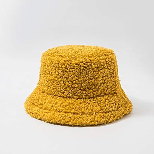 Sombrero de Mujer Sólido y cálido Gorra de Invierno Sombrero de Cubo para Mujer Protección Solar al Aire Libre Sombrero de señora Gorra-Yellow