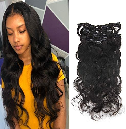 Real Hair Extensions Clip in Human Hair 10 Inch Natural Black Clip in Hair 7 Pcs Body Wave Real product image