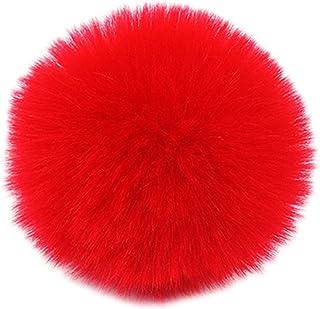 comprar comparacion Mentin - Pompón de pelota, 2 unidades, 8 cm, pompón de peluche, pompón con cordón elástico para llaves, llavero, gorro, bo...