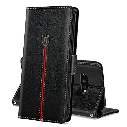 Samsung Galaxy S10 Plus Hülle, Magnet Ledertasche Handyhülle, Klapp Leder Kartenfächer Schutzhülle, Flip Slim TPU Bumper Bookcase, Stoßfeste Standfunktion Cover für S10 Plus Schwarz