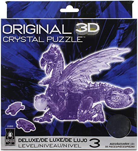 Bepuzzled Deluxe 3D Crystal Jigsaw Puzzle - Purple Dragon DIY Assembly Brain Teaser, Fun Model Toy Gift Decoration for Adults & Kids Age 12 & Up, 56Piece (Level 3)