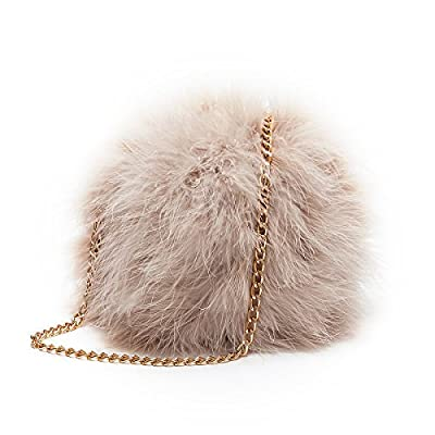 Flada Women's Faux Fluffy Feather Round Clutch Shoulder Bag