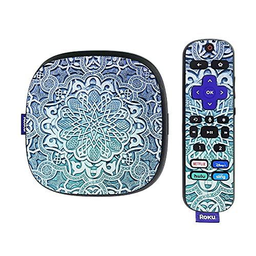 MightySkins Skin Compatible with Roku Ultra HDR 4K Streaming Media Player (2020) - Carved Blue   Protective, Durable, and Unique Vinyl Decal wrap Cover   Easy to Apply and Change Styles   Made in The