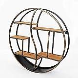 SENDERPICK Estantería de pared redonda vintage, estantería de almacenamiento de madera de metal flotante con marco de estantes, estante decorativo de pared para cocina, dormitorio 59 cm