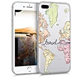 kwmobile Funda Compatible con Apple iPhone 7 Plus / 8 Plus - Carcasa de TPU y Mapa Mundial en Negro/Multicolor/Transparente