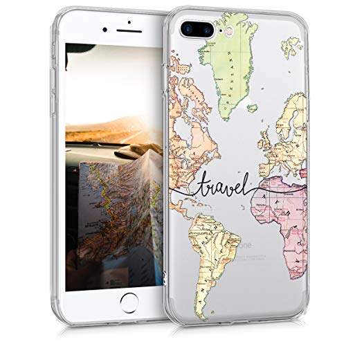 kwmobile Hülle kompatibel mit Apple iPhone 7 Plus / 8 Plus - Hülle Silikon transparent Travel Schriftzug Schwarz Mehrfarbig Transparent