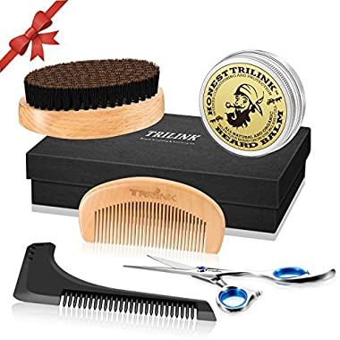 Beard Care Grooming Kit for Men - Boar Bristle Beard Brush, Wooden Comb, Natural Beard Balm Butter Wax, Barber Mustache Trimming Scissors, Beard Shaping Styling Tool - Gift Idea for Father's Day
