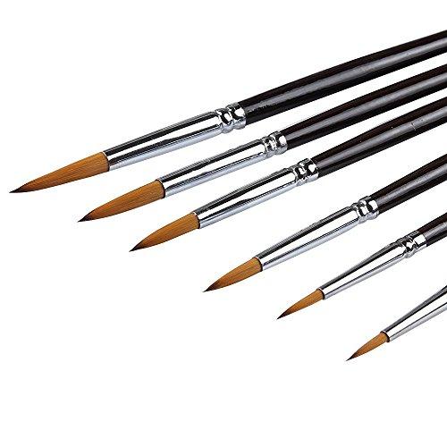 Artista Pintura Cepillos – Top Calidad (Mustela Pelo de Marta roja) con Mango Largo, Redondo Punta Juego de brochas de Pintura para acrílico, Aceite, Gouche y Acuarela