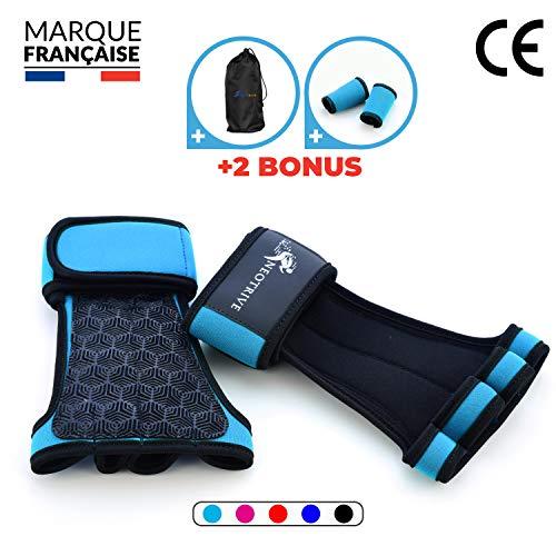 Neotrive Pull Up Grips, Hand Grips, Wodies für Calisthenics, Crossfit, Freeletics, Gymnastik, Turnen - Alternative für Trainingshandschuhe und Fitness Handschuhe (TURKIZ, S)