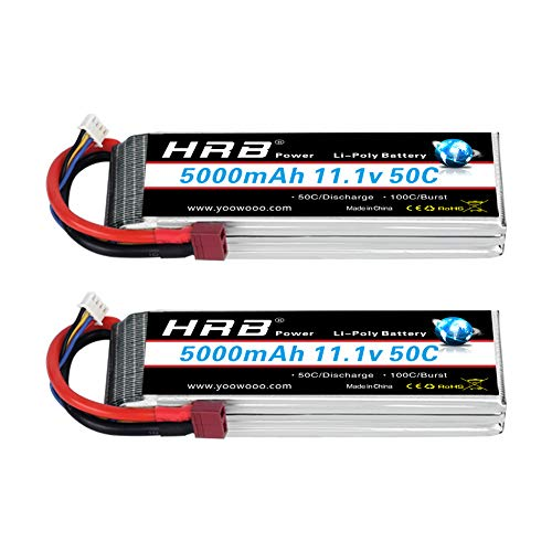 HRB 2PCS 5000mAh 3S 11.1V 50C Lipo Battery with Deans T Plug for DJI F450 Quadcopter Airplane Helicopter Car Truck Boat Hobby