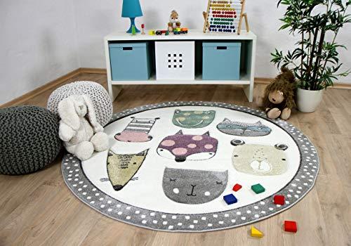 Pergamon Maui Kids - Alfombra Infantil Redonda - Happy Animales - Multicolor 3 tamaños